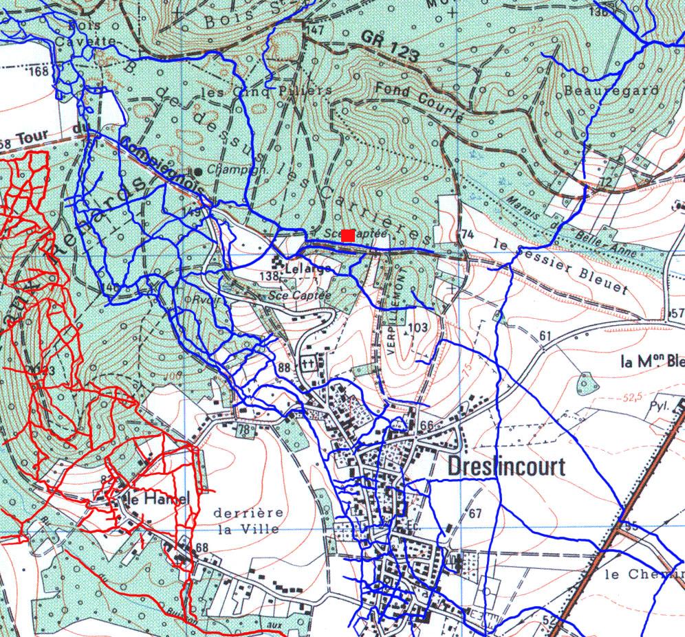 kaart loopgraven Dreslincourt